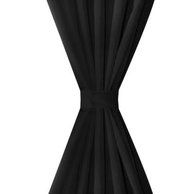 Mustat Mikro-Satiini Verhot Lenkeillä 2kpl 140 x 225 cm[3/4]