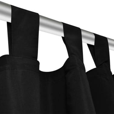Mustat Mikro-Satiini Verhot Lenkeillä 2kpl 140 x 225 cm[4/4]