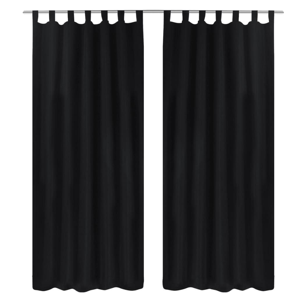 99130355 Vorhänge Gardienen aus Satin 2-teilig 140 x 245 cm Schwarz