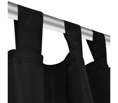 acheter 2 pcs rideau passant micro satin noir 140 x 245 cm pas cher. Black Bedroom Furniture Sets. Home Design Ideas