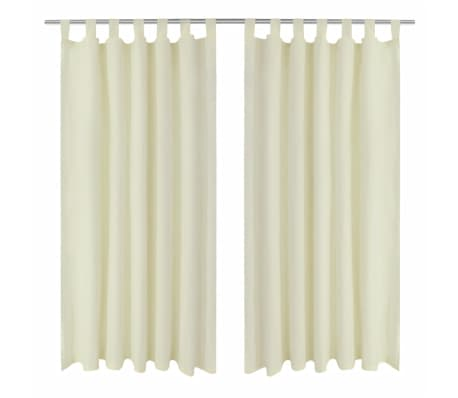 "2 pcs Cream Micro-Satin Curtains with Loops 55"" x 96""[1/4]"