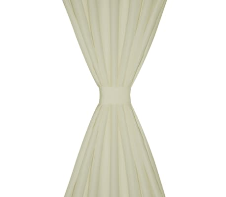 "2 pcs Cream Micro-Satin Curtains with Loops 55"" x 96""[3/4]"