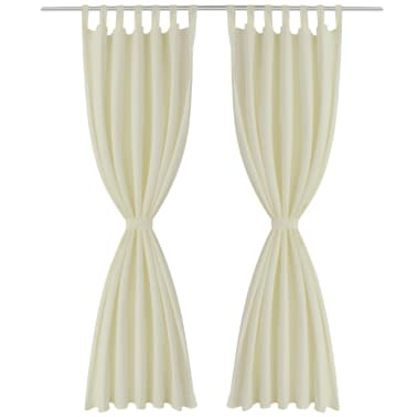 "2 pcs Cream Micro-Satin Curtains with Loops 55"" x 96""[2/4]"