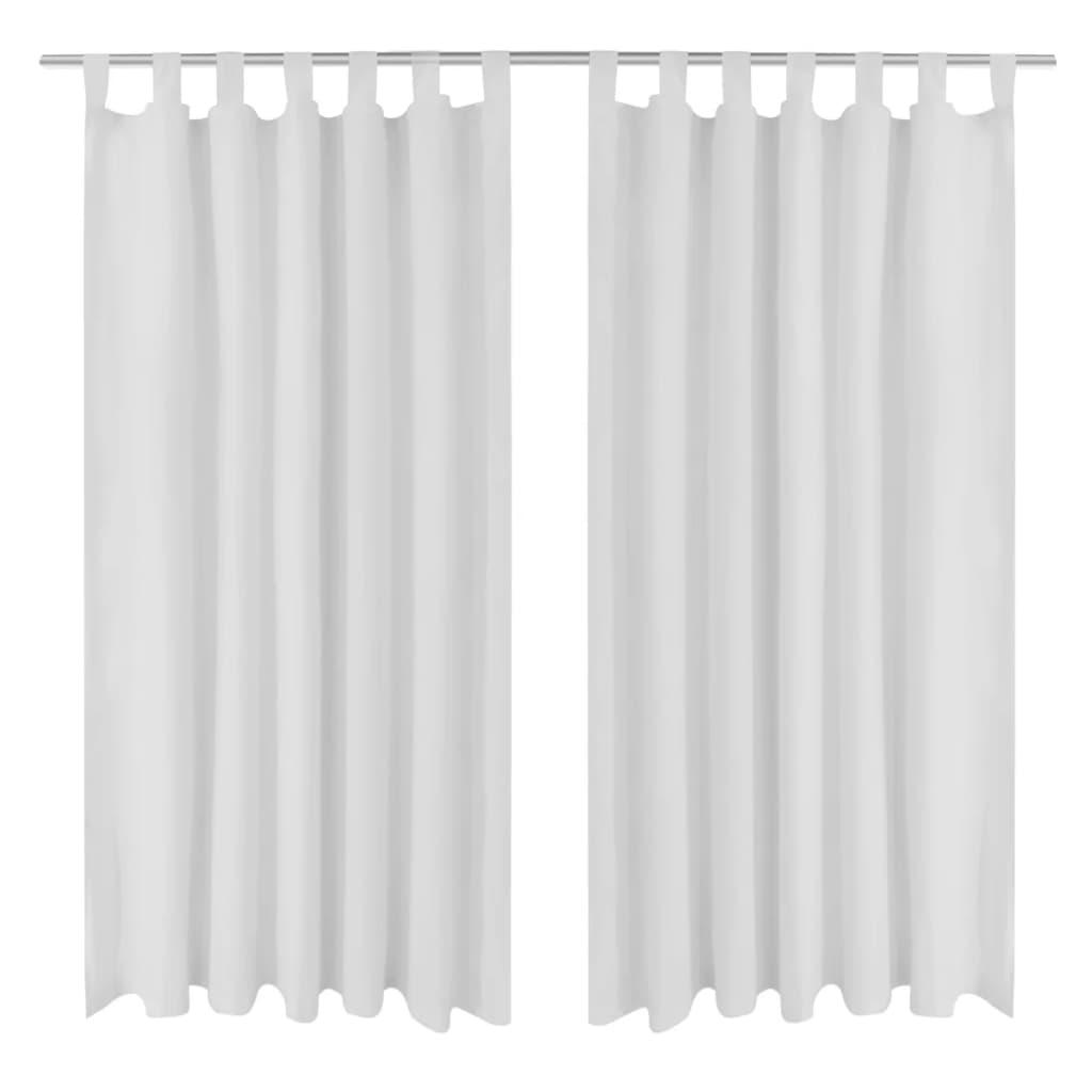 99130359 Vorhänge Gardienen aus Satin 2-teilig 140 x 175 cm Weiß