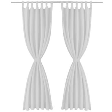 Baltos Užuolaidos su Kilpomis 140 x 175 cm, 2 vnt., Mikro Satinas[2/4]