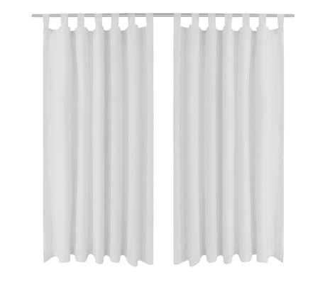 Draperii micro-satin cu bride, 2 buc, 140 x 225 cm, alb[1/4]