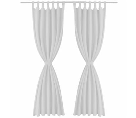 Draperii micro-satin cu bride, 2 buc, 140 x 225 cm, alb[2/4]