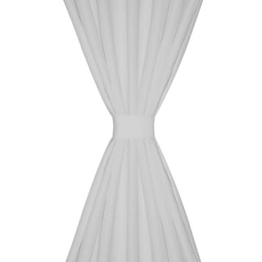 Draperii micro-satin cu bride, 2 buc, 140 x 225 cm, alb[3/4]