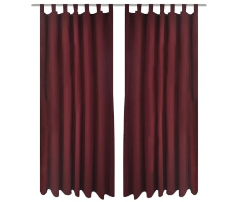 acheter 2 pcs rideau passant micro satin bordeaux 140 x 175 cm pas cher. Black Bedroom Furniture Sets. Home Design Ideas