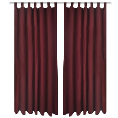 "2 pcs Bordeaux Micro-Satin Curtains with Loops 55"" x 96""[1/4]"