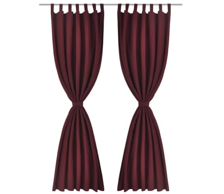 "2 pcs Bordeaux Micro-Satin Curtains with Loops 55"" x 96""[2/4]"