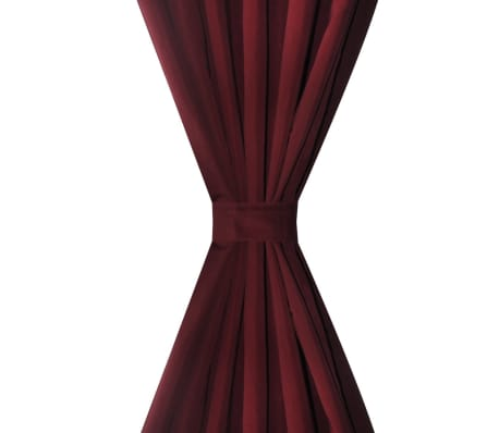 "2 pcs Bordeaux Micro-Satin Curtains with Loops 55"" x 96""[3/4]"