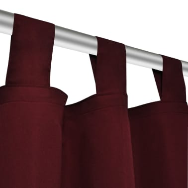 "2 pcs Bordeaux Micro-Satin Curtains with Loops 55"" x 96""[4/4]"