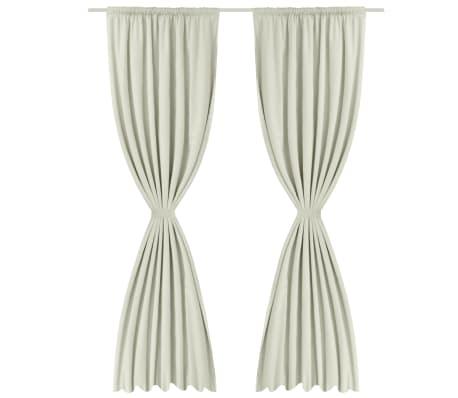 Verdunkelungs-Vorhänge energiesparend doppellagig 140x245cm Crème[3/5]