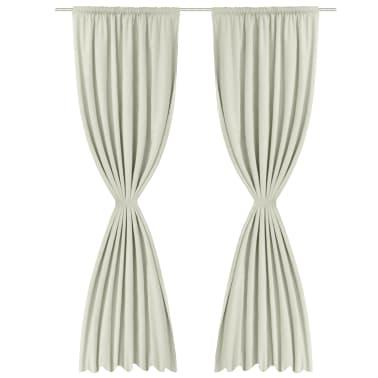 vidaXL Rideau occultant 2 pcs à double couche 140x245 cm Couleur crème[3/5]