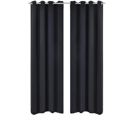 acheter 2 pcs rideau blackout occultant noir avec illets en m tal 135x245cm pas cher. Black Bedroom Furniture Sets. Home Design Ideas