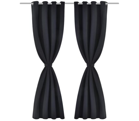 2 Pcs Black Blackout Curtains With Metal Rings 53 X 962