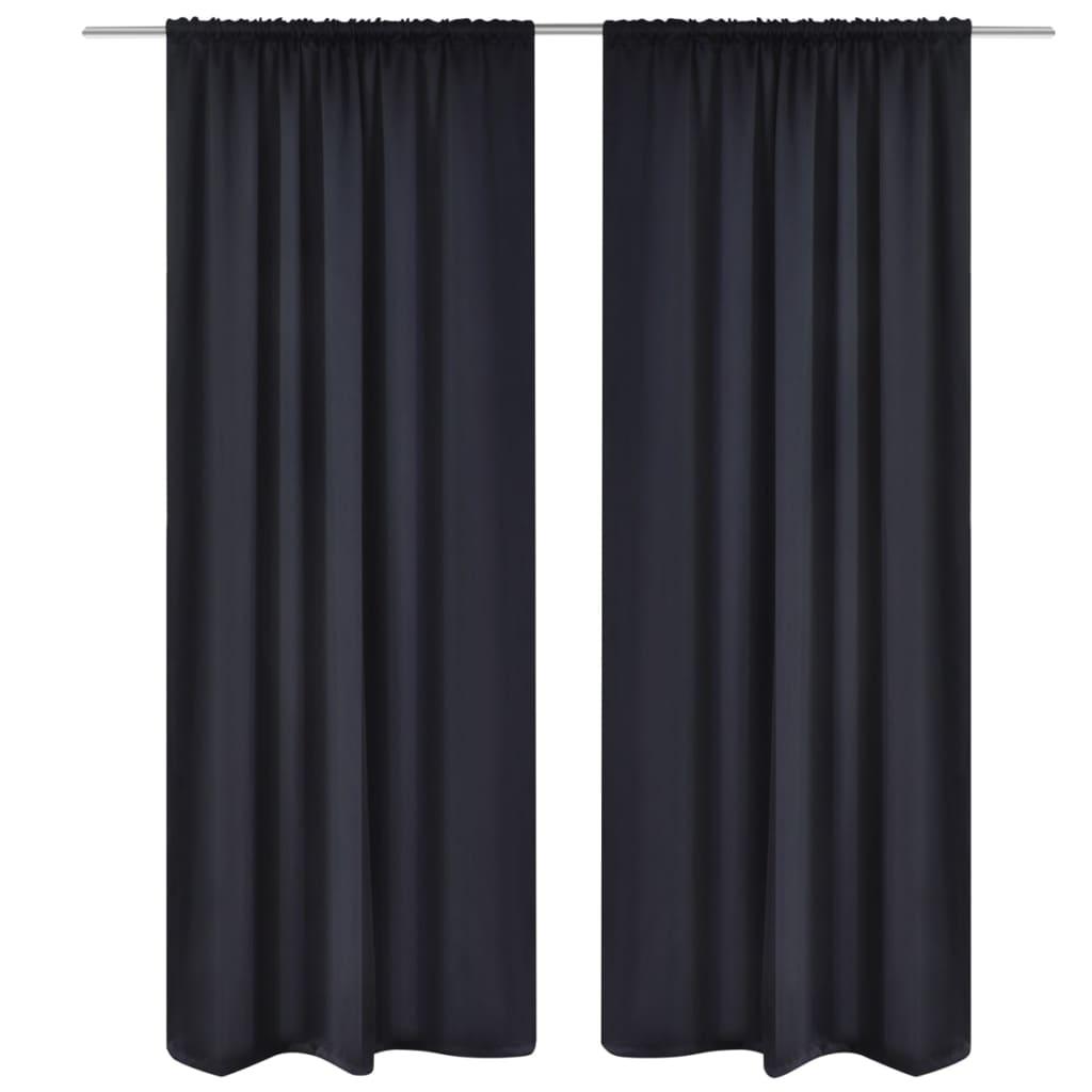 99130370 Verdunkelungs-Vorhänge mit Schlaufen 135 x 245 cm Schwarz blackout