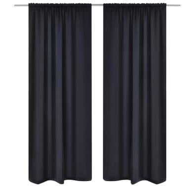 "2 pcs Black Slot-Headed Blackout Curtains 53"" x 96""[1/3]"