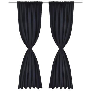 "2 pcs Black Slot-Headed Blackout Curtains 53"" x 96""[2/3]"