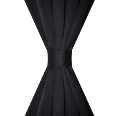 "2 pcs Black Slot-Headed Blackout Curtains 53"" x 96""[3/3]"