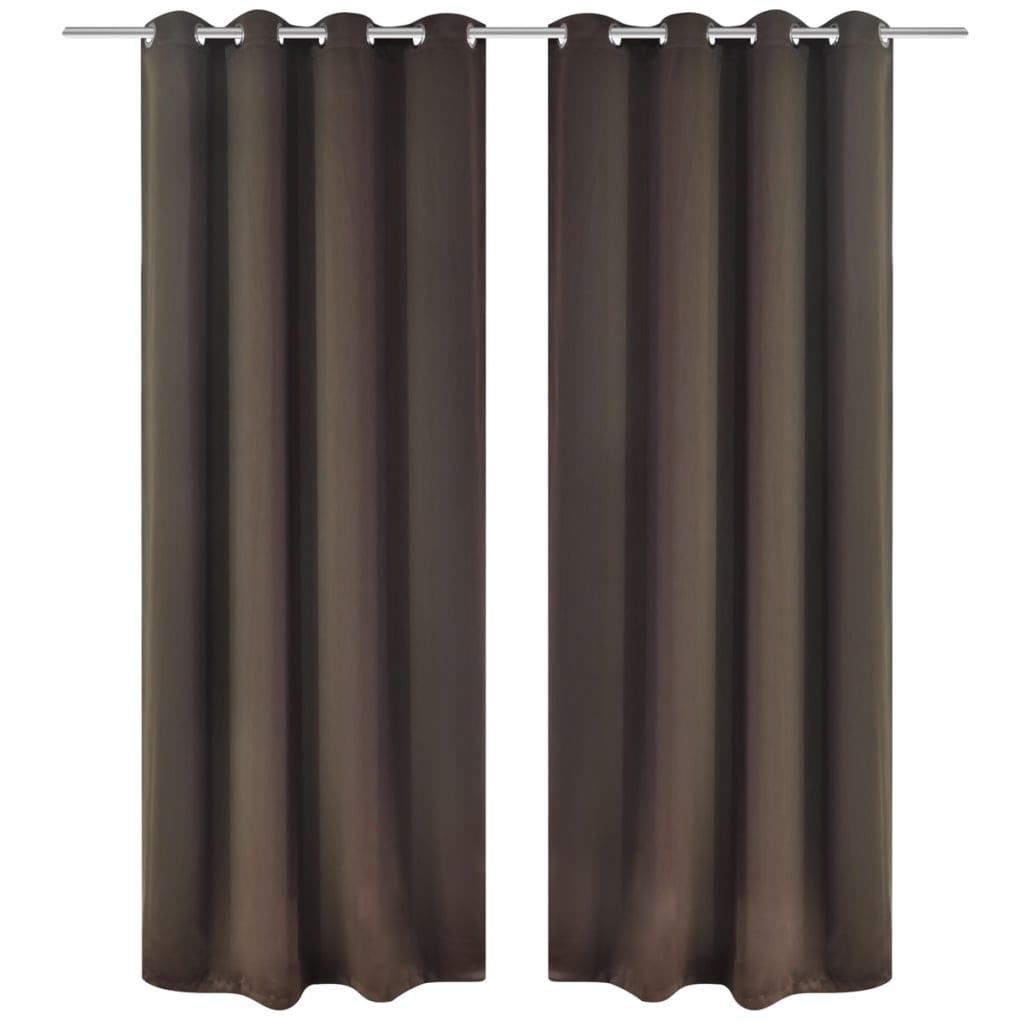 99130371 Verdunkelungs-Vorhänge mit Metallringen 135 x 245 cm Braun blackout