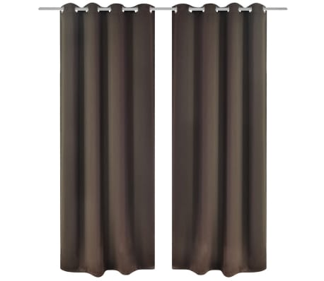 "2 pcs Brown Blackout Curtains with Metal Rings 53"" x 96""[1/4]"