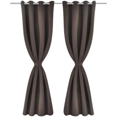 "2 pcs Brown Blackout Curtains with Metal Rings 53"" x 96""[2/4]"