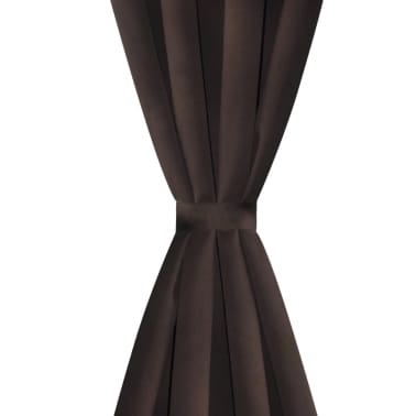 "2 pcs Brown Blackout Curtains with Metal Rings 53"" x 96""[3/4]"