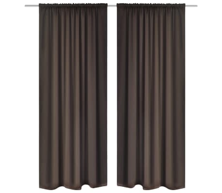 "2 pcs Brown Slot-Headed Blackout Curtains 53"" x 96"""