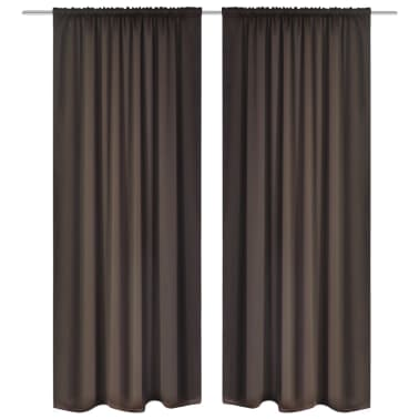 "2 pcs Brown Slot-Headed Blackout Curtains 53"" x 96""[1/3]"