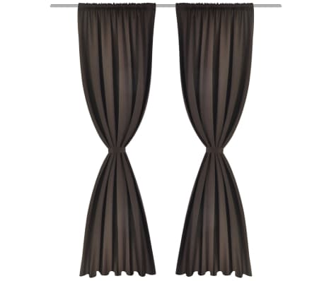 "2 pcs Brown Slot-Headed Blackout Curtains 53"" x 96""[2/3]"