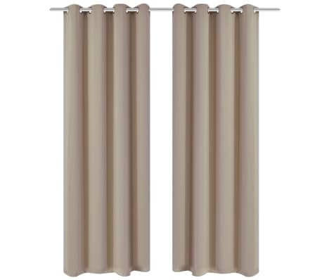 "2 pcs Cream Blackout Curtains with Metal Rings 53"" x 96""[1/4]"