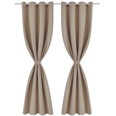 "2 pcs Cream Blackout Curtains with Metal Rings 53"" x 96""[2/4]"