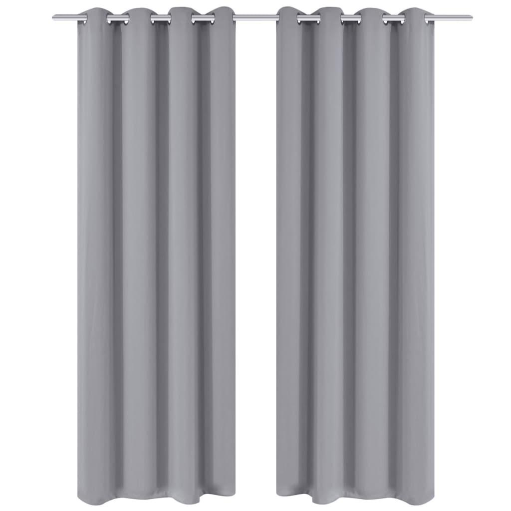 99130375 Verdunkelungs-Vorhänge mit Metallringen 135 x 245 cm Grau blackout