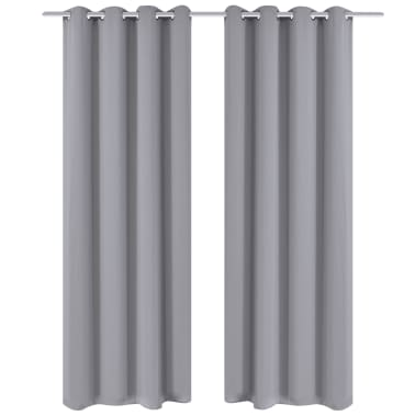 """2 pcs Gray Blackout Curtains with Metal Rings 53"""" x 96""""[1/4]"""