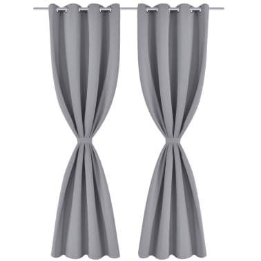 """2 pcs Gray Blackout Curtains with Metal Rings 53"""" x 96""""[2/4]"""