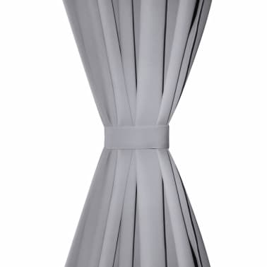 """2 pcs Gray Blackout Curtains with Metal Rings 53"""" x 96""""[3/4]"""