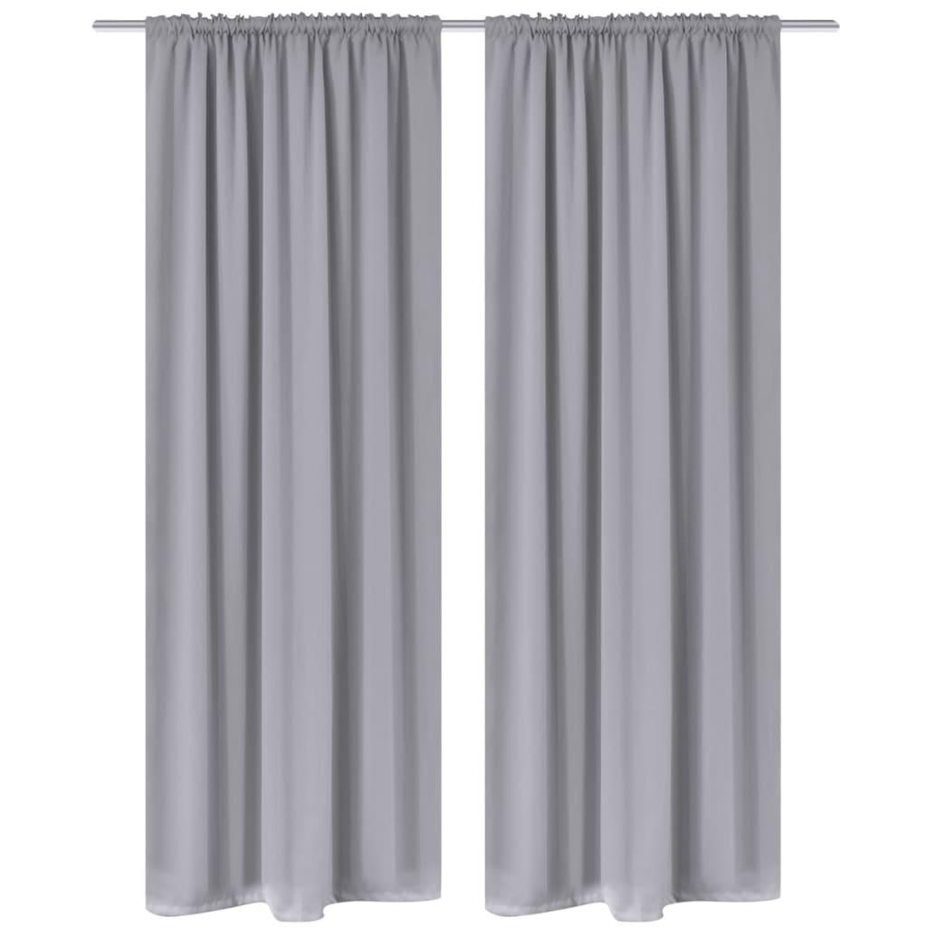 99130376 Verdunkelungs-Vorhänge mit Schlaufen 135 x 245 cm Grau blackout