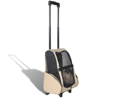 vidaXL Foldable Multipurpose Pet Trolley Beige[1/6]
