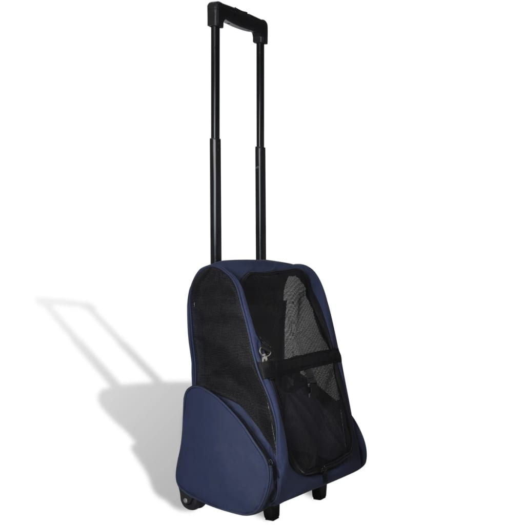 Modrý skládací víceúčelový vozík pro domácí zvířata