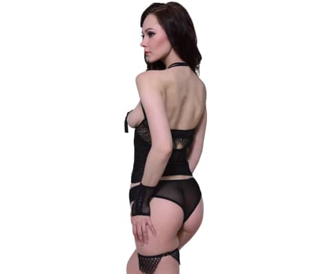 4 pcs Sexy Cupless Teddy Lingerie Set Size S / M[3/4]