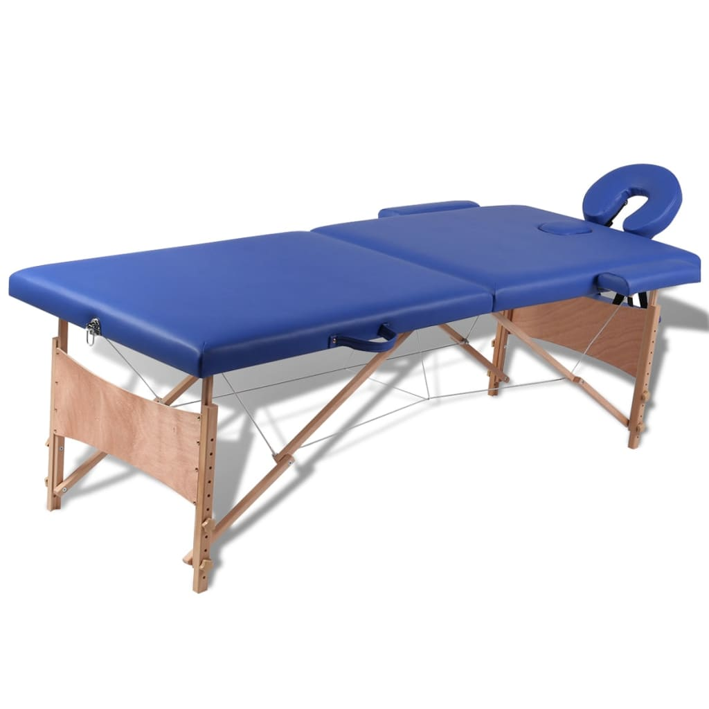 vidaXL Blue Foldable Massage Table 2 Zones with Wooden Frame