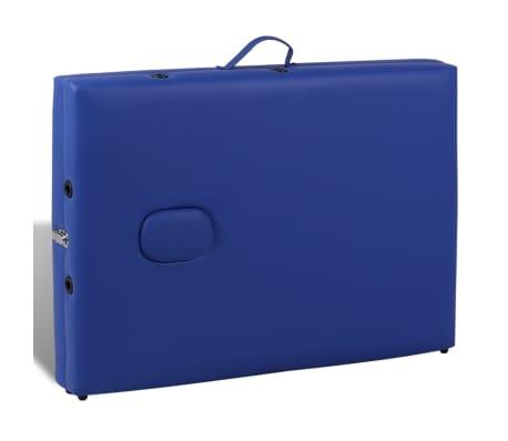 vidaXL Table pliable de massage Bleu 2 zones avec cadre en bois[5/8]