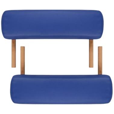 vidaXL Table pliable de massage Bleu 2 zones avec cadre en bois[7/8]