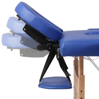 vidaXL Table pliable de massage Bleu 2 zones avec cadre en bois[8/8]