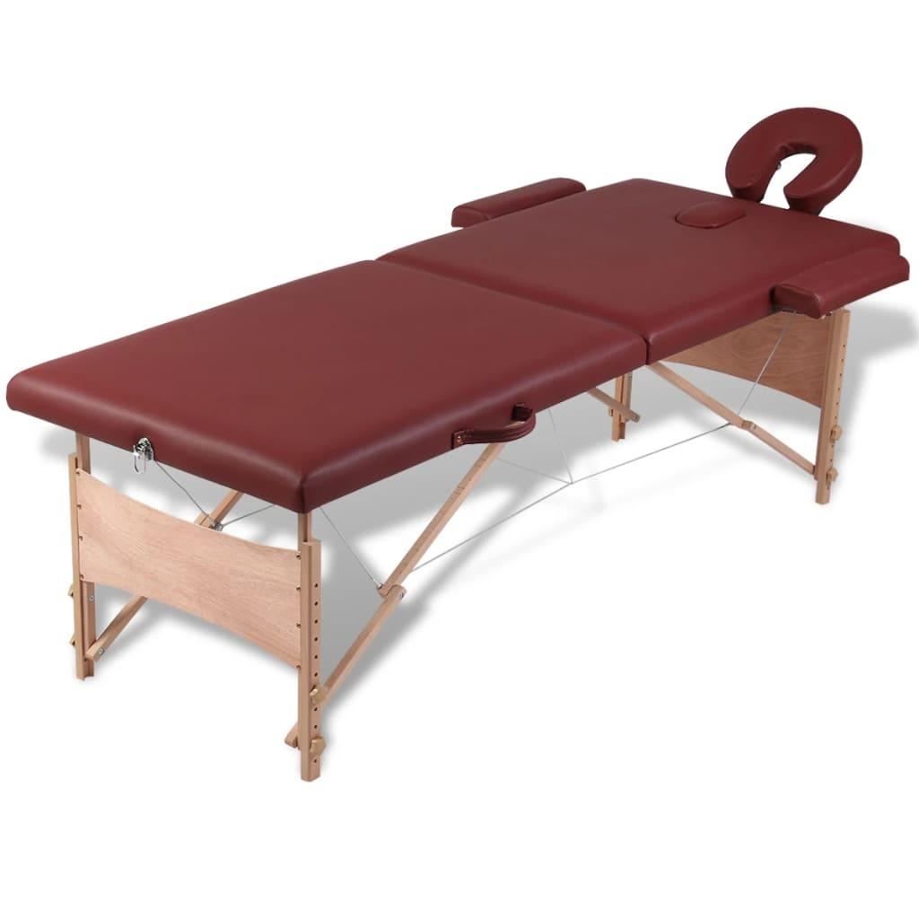 Masă de masaj pliabilă 2 părți cadru din lemn Roșu vidaxl.ro