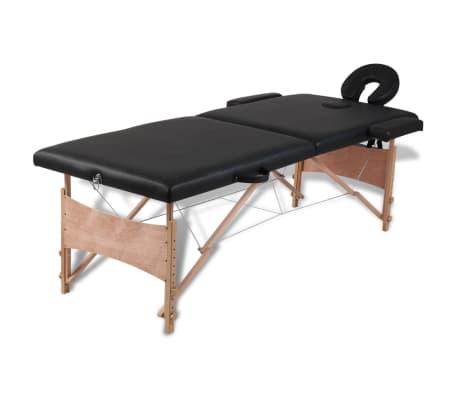 vidaXL Hopfällbar massagebänk med 2 sektioner träram svart-picture