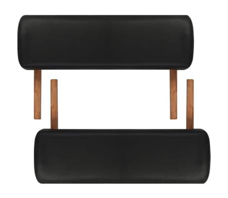 Κρεβάτι μασάζ Πτυσσόμενο 2 θέσεων με ξύλινο σκελετό Μαύρο[6/8]