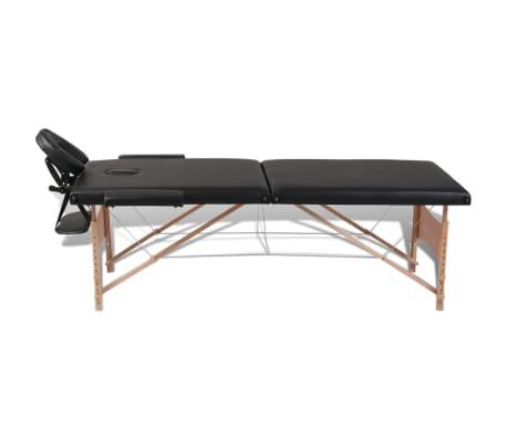 vidaXL massagebord sammenfoldeligt 2 zoner træstel sort[8/8]